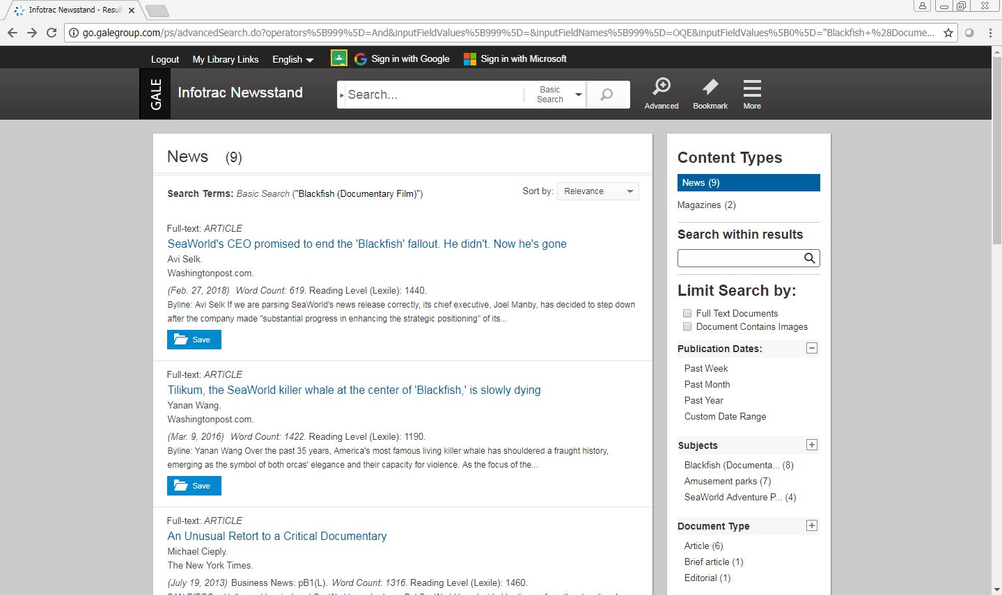 Infotrac Newsstand Search Results