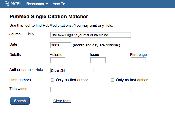 Screen Shot of Pubmed Single Citation matcher with filled in fields