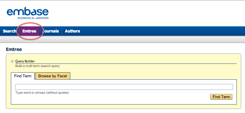 Screen shot of Embaseh home page with Emtree highlighted