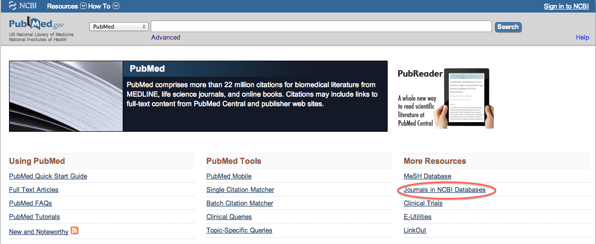 PubMed scree snhot with Journals in NCB Database highlighted