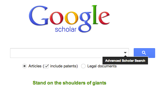 A screen shot of a blank Google Scholar search page.
