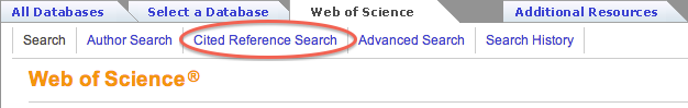 Web of Science tab with Cited Referece Search highlighted.