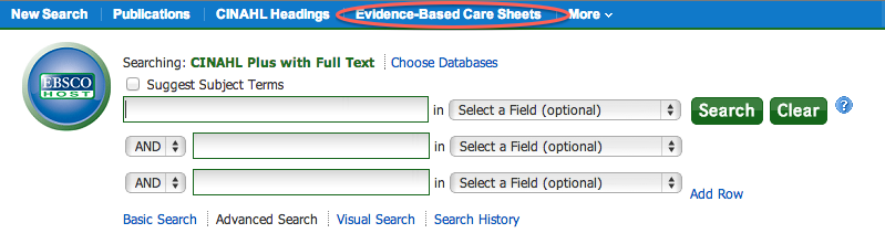 Screenshot highlighting Evidence-Based CareSheets