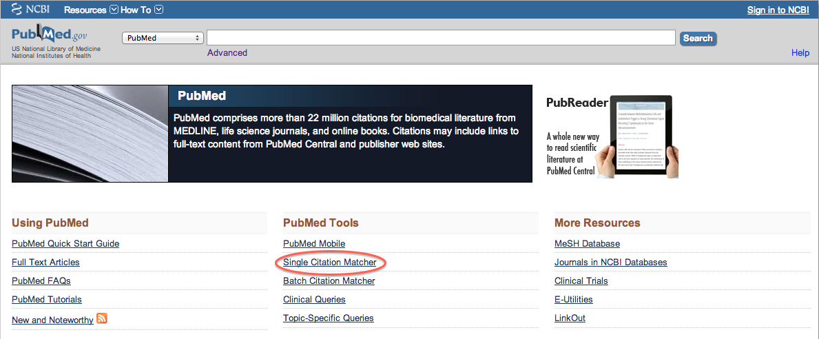 Pub Med home page with Single Citation Matcher highlighted