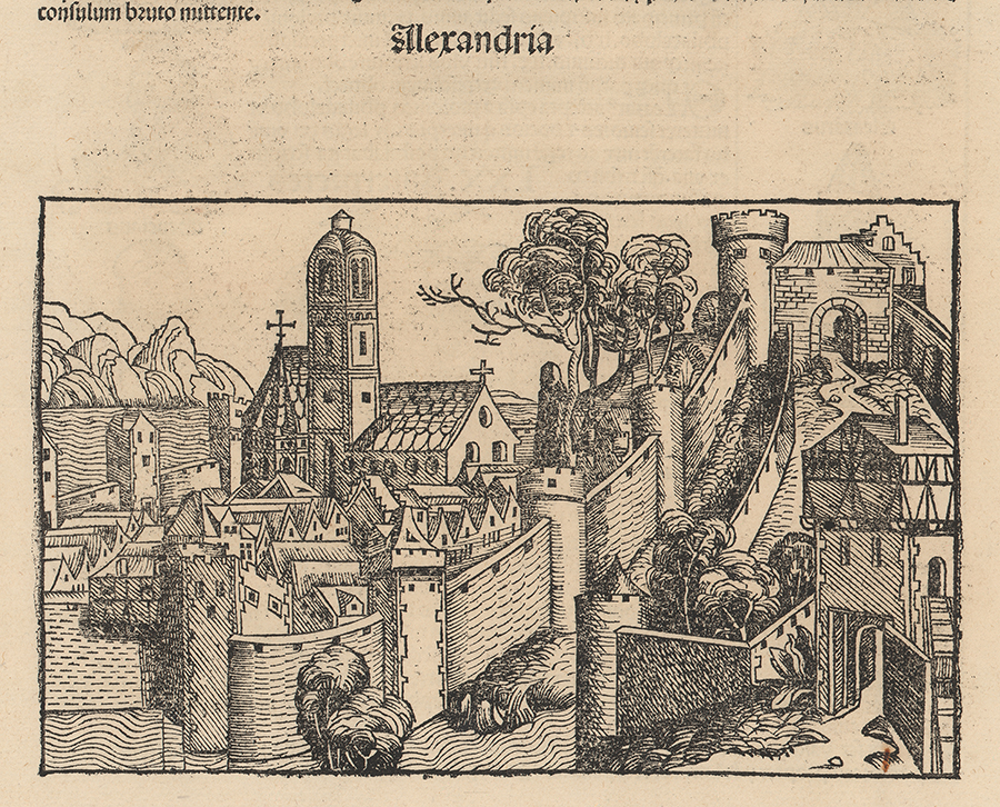 Schedel Alexandria woodcut Nuremberg Chronicle 1493