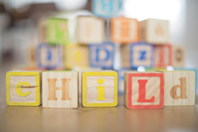 "Wooden Blocks Spelling ""Child"""