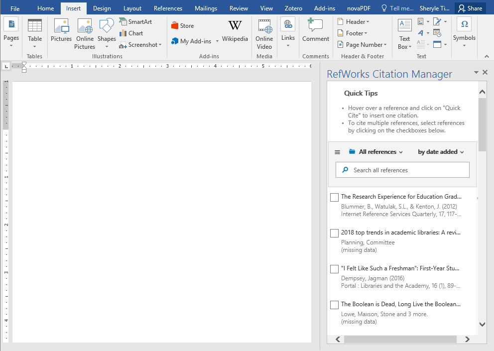 screenshot of refworks populated in ms word