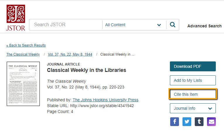 jstor export to refworks screenshot