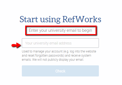 start using RefWorks screen shot