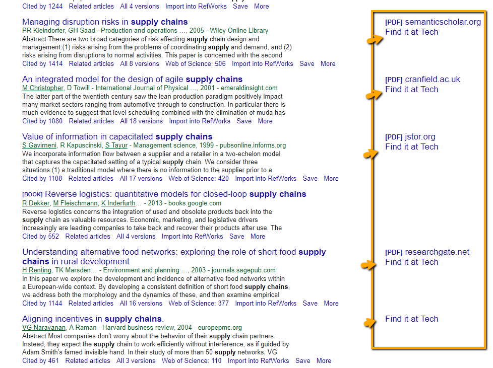google scholar with links to tech full text
