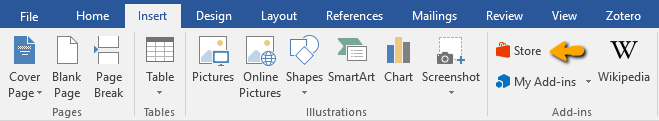 store button in ms word screensht