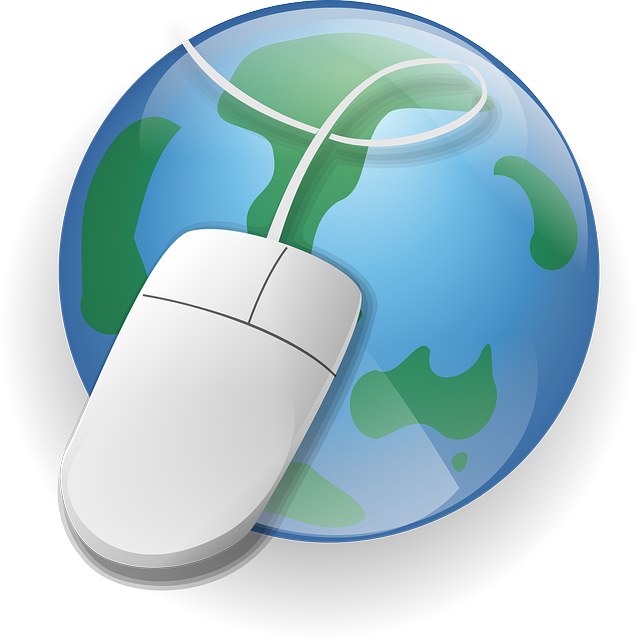 computer mouse in front of world