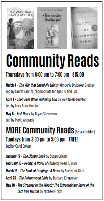 List of books for Community Reads Spring 2021