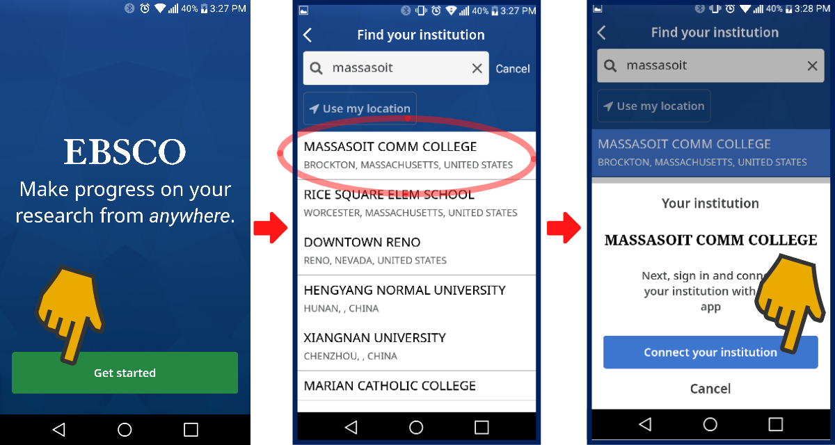 Instructions for installing the Ebsco app