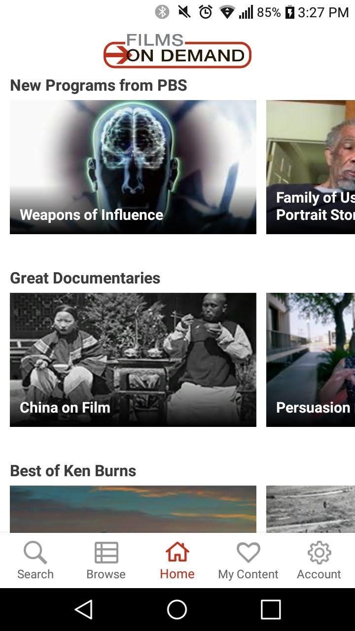 Films on Demand App homepage