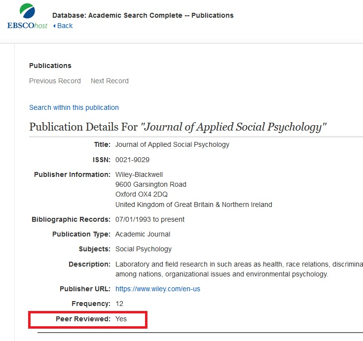 Find Peer-Reviewed Journals through Publications