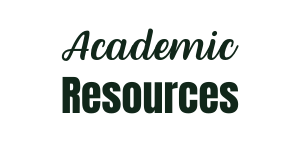 White background with green text that reads: Academic Resources