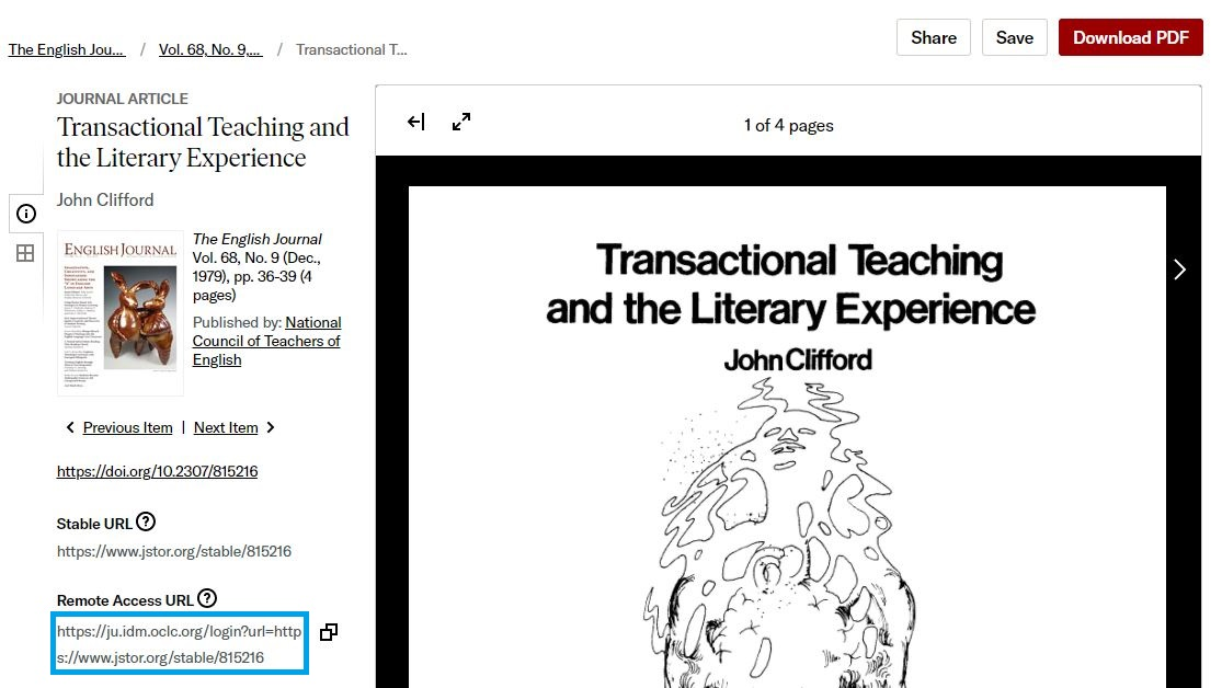 Screenshot of an article in JSTOR with the Remote Access URL highlighted