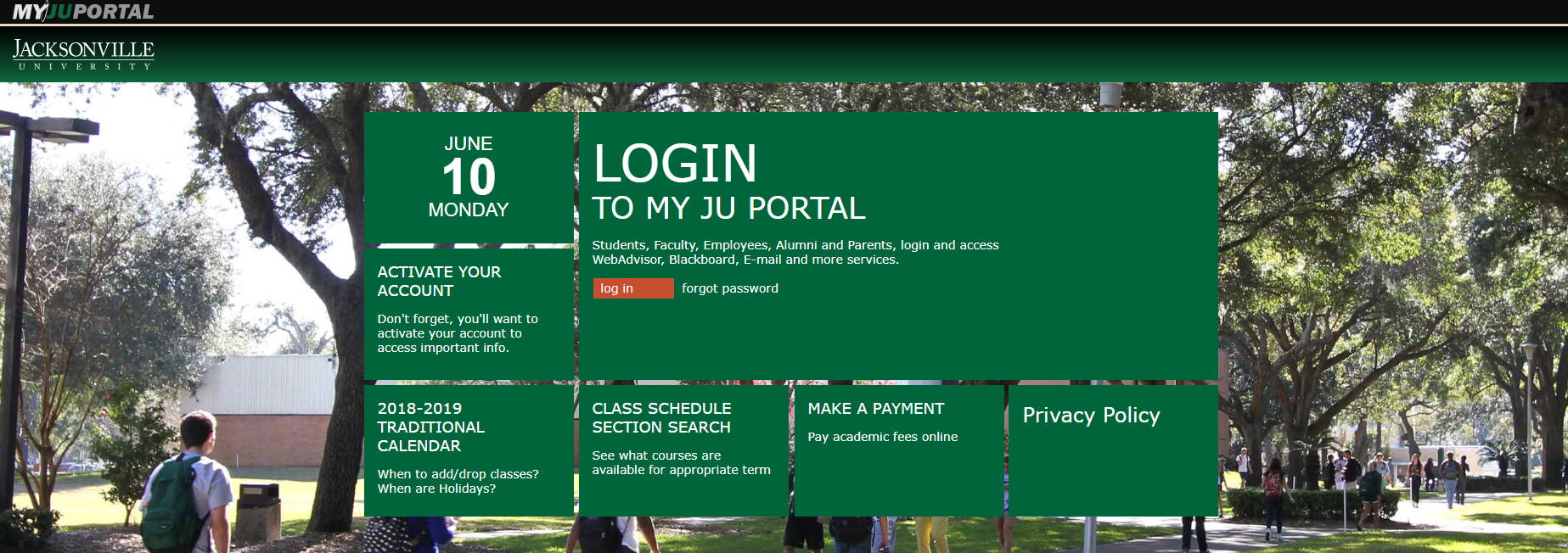 Screenshot of MyJU page, with login button in the center