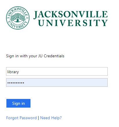 Screenshot Jacksonville University authentication screen with username and password fields