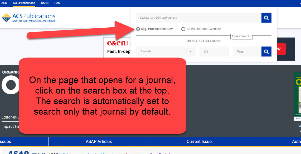 How to search by journal name diagram
