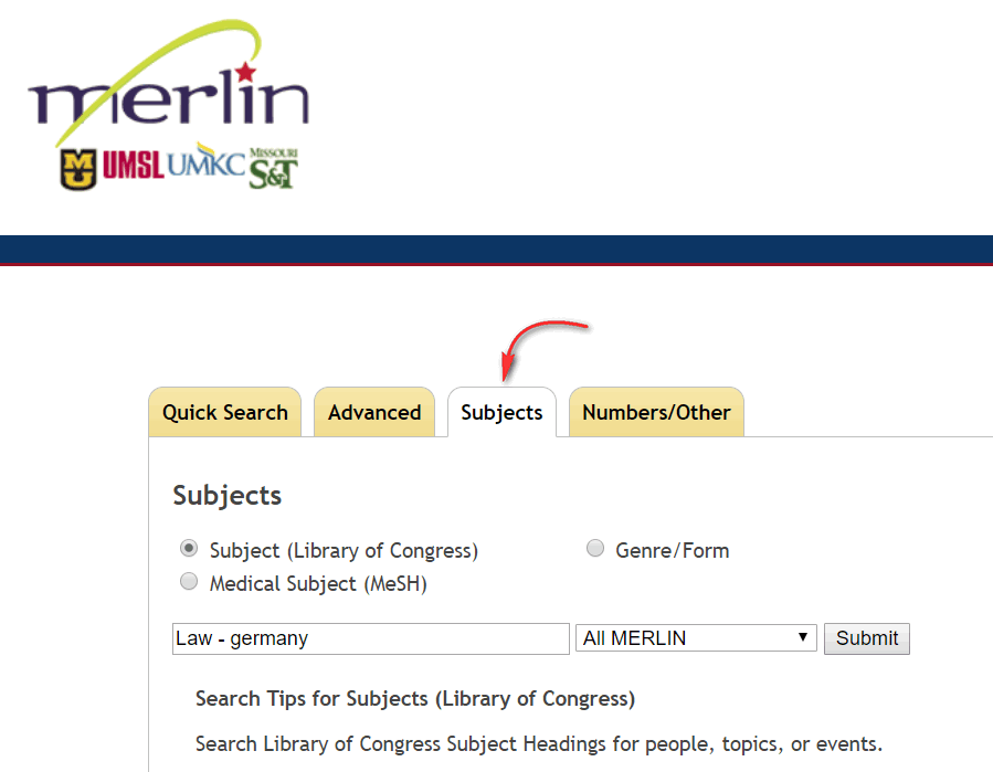 Merlin Subject Search