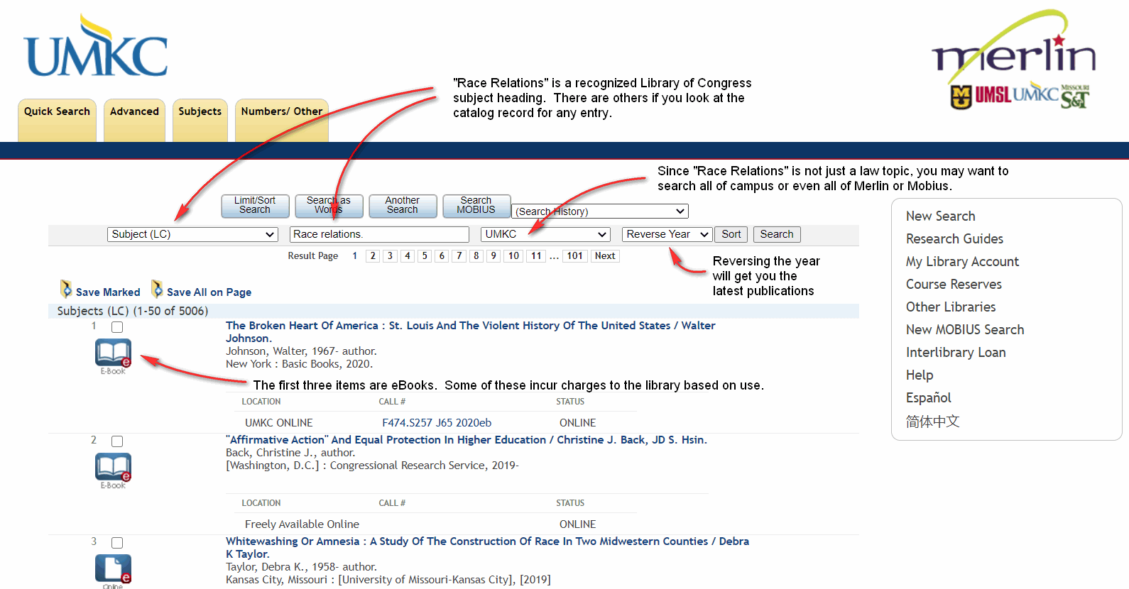 """Merlin catalog search for the subject """"Race relations"""" sorted by most recent year of publication."""