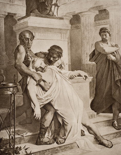 Lithograph illustrating the death of Demosthenes