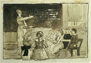 Pen wash illustration of children in a music lesson by  Winslow Homer.