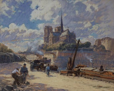 Painting of Notre Dame cathedral
