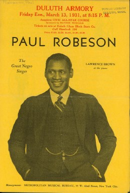 Poster of Paul Robeson's performance in Duluth