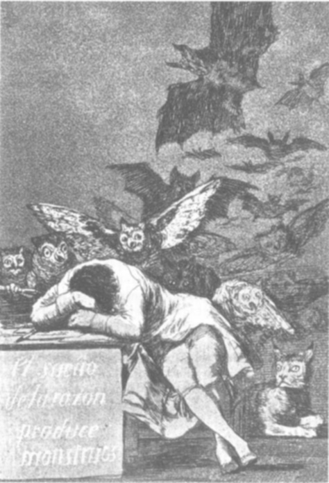 The Sleep of Reason Produces Monsters, etching by Goya.