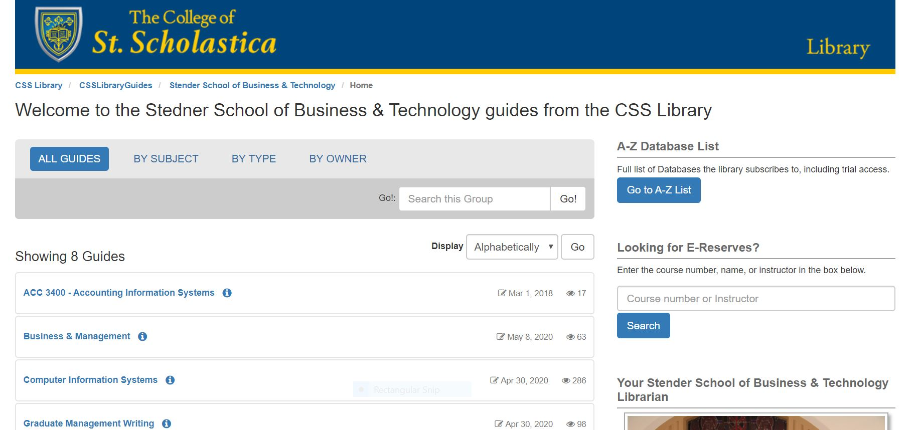 Screen shot of Stedner School of Business & Technology page