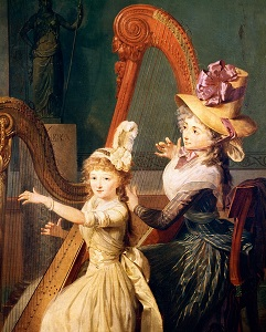18th century painting of music lesson
