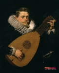 Man playing a lute.