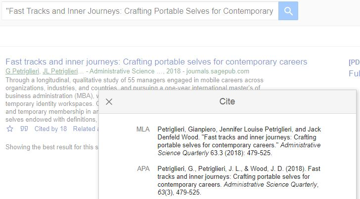 Screenshot of Google Scholar search