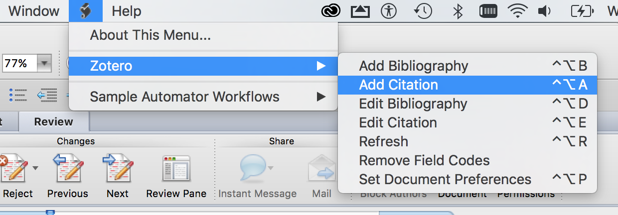 Screenshot of the Script menu in Microsoft Word for Mac