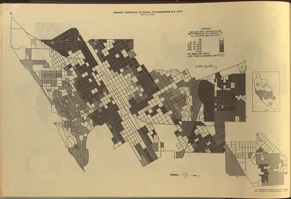 map of Birmingham, Alabama, Block Statistics