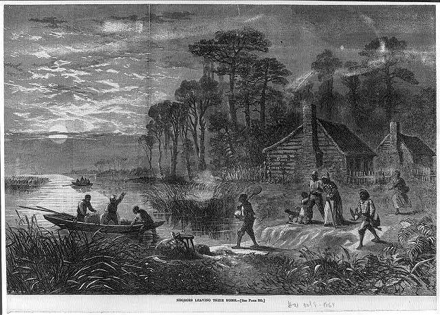 Negroes leaving their home [by boat; Civil War] 1864