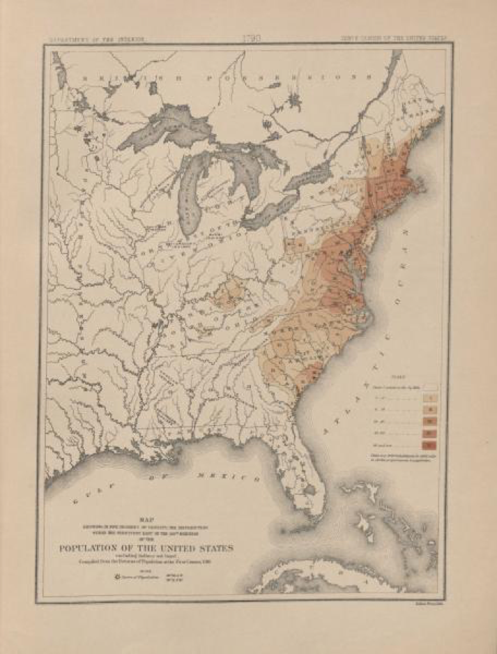 This map illustrates the population of the United States following the 1790 census