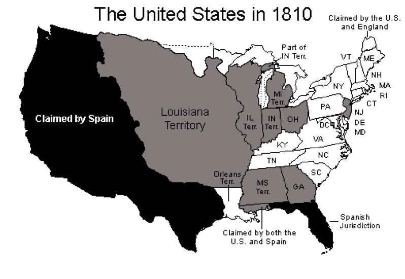 This map of the United States shows the boundaries of the states and territories at the time of the 1810 census.
