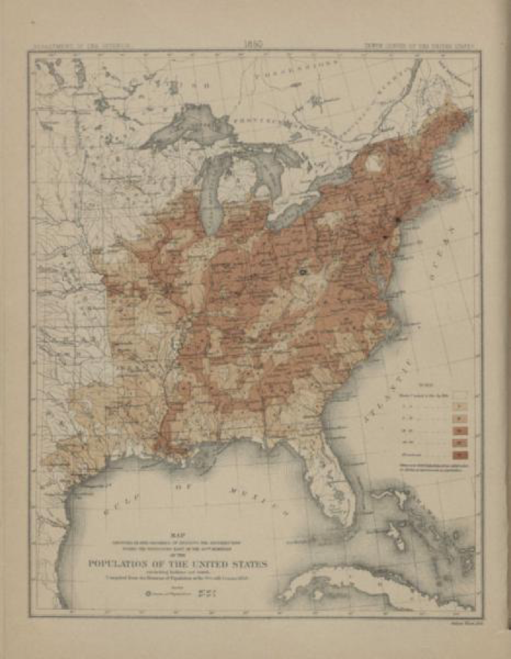 A map showing the density of the U.S. population based on 1850 census data