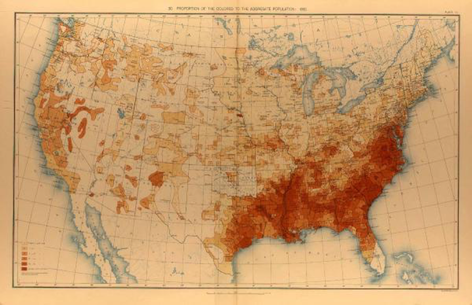 An 1890 map illustrating the distribution of the Black population in the United States