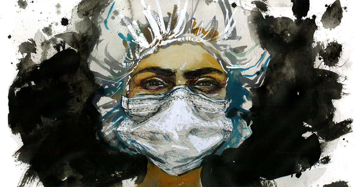 photo of Black woman wearing mask and cap