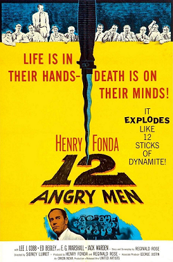 "Movie Poster: ""Life is in their hands - death is on their minds! It explodes like 12 sticks of dynamite! Henry Fonda, 12 Angry Men"""