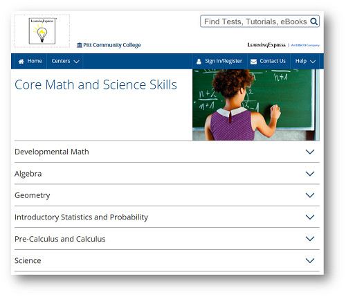 Screen shot of the Core Math and Science Skills page. Sections include developmental math, algebra, geometry, introductory statistics and probability, pre-calculus and calculus, and science.