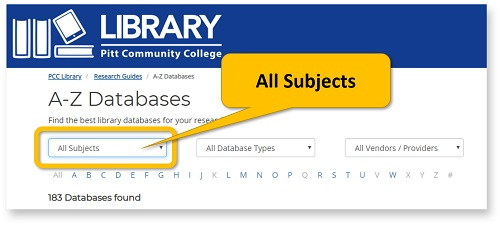 From the Databases page, click All Subjects