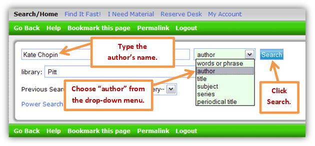 Library catalog search box with an author example.