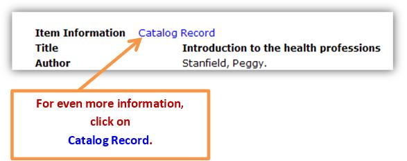 Catalog record link example.