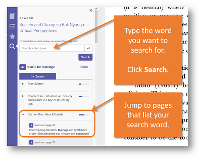 Type the word you want to search for. Click Search. Jump to pages that list your search word.